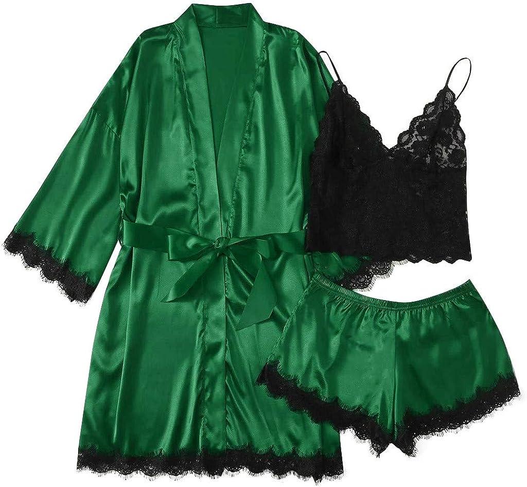AODONG Valentines Lingerie for Women Sleepwear Womens Sexy Lingerie Satin Pajamas Cami Shorts Set Nightwear