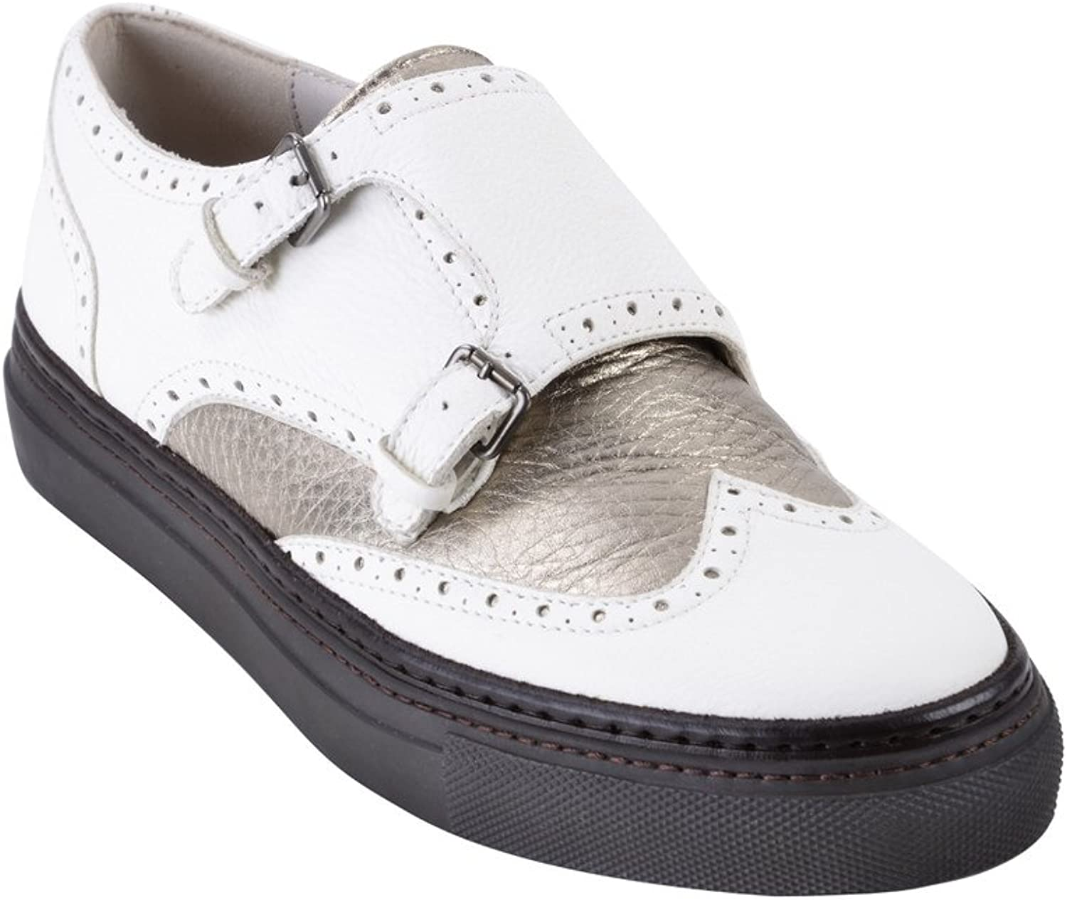 Brunello Cucinelli shoes Women's White Brown,gold Leather Low-Top 37