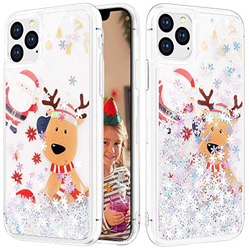 Caka Christmas Case for iPhone 11 Pro Max Glitter Case Liquid Bling Sparkle Luxury Fashion Flowing Floating Shining Quicksand TPU Clear Silver Women Girls Case for iPhone 11 Pro Max (6.5 inch)(Moose)