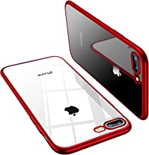 TORRAS Crystal Clear iPhone 8 Plus Case/iPhone 7 Plus Case, [Anti-Yellow] Soft Silicone TPU Cover Slim Thin Gel Phone Case for iPhone 7 Plus/8 Plus, Red