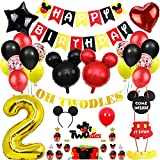 Danirora Mickey Oh Twodles Party Decorations, Mickey Mouse 2nd Birthday Party Packs for Kids Mickey Balloons Mickey Banner