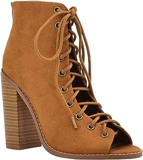 567416ed52 Women s Open Toe Lace Up Ankle Booties Back Zipper Block Chunky Heel Shoe  Boots
