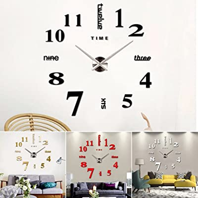 osierr6 Modern Design Large 3D Wall Clock, Numbers Letters DIY 3D Mirror Stickers Clock Office