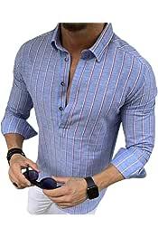 YIhujiuben Mens Casual Long Sleeve Lightweight Denim Button Down Shirts Tops