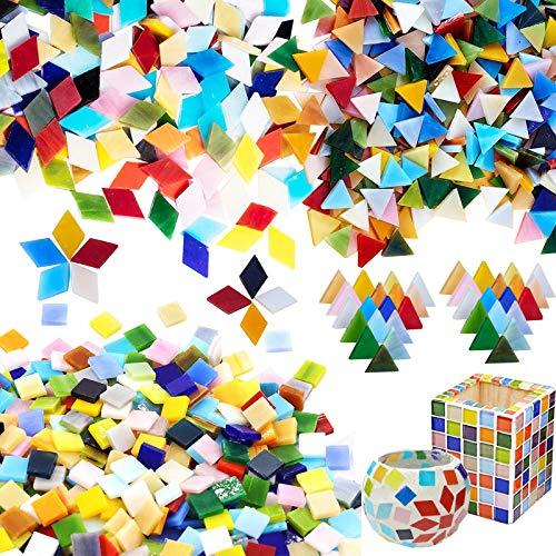Allazone Azulejo de Mosaico de Colores Variados Mosaico de Cristal Brillante Decoración de Hogar para Manualidades, Decoración del Hogar, Marcos, Diamante, Triángulo, Cuadrad