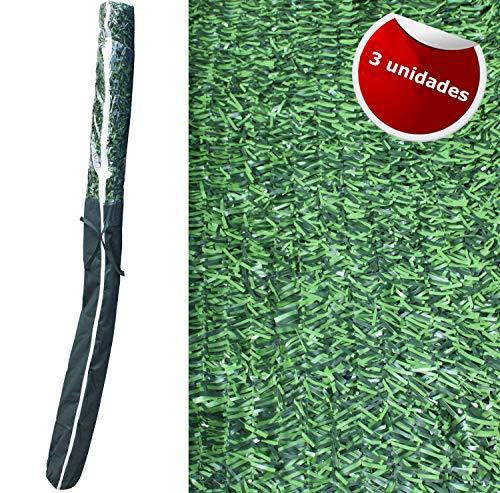 Seto Artificial Decorativo tupido ignífugo de 3 Metros de Largox2 Metro de Altura. Seto Artificial Decorativo Verde, de Alta ocultación (3- Rollos seto 3x2)