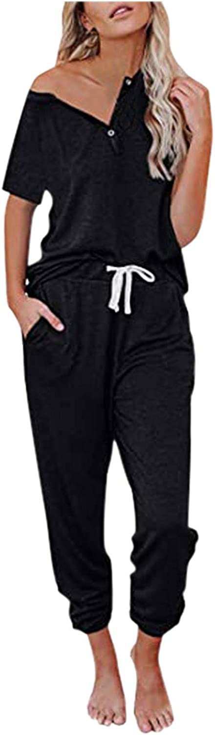 Sexy Pajamas For Women, Womens Casual 2 Piece Sweatsuit V neck Pullover Tops Soft Pj Lounge Drawstring Sets