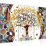 Tableau decoration murale Gustav Klimt Arbre de vie 120 x 80 cm - XXL Impression sur Toile Salon Appartment 3 Parties - prêt à accrocher - 004631a
