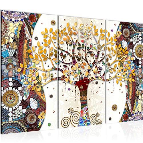 Bilder Gustav Klimt Baum des Lebens Wandbild 120 x 80 cm Vlies - Leinwand Bild XXL Format Wandbilder Wohnung Deko Kunstdrucke - MADE IN GERMANY - Fertig zum Aufhängen 004631a