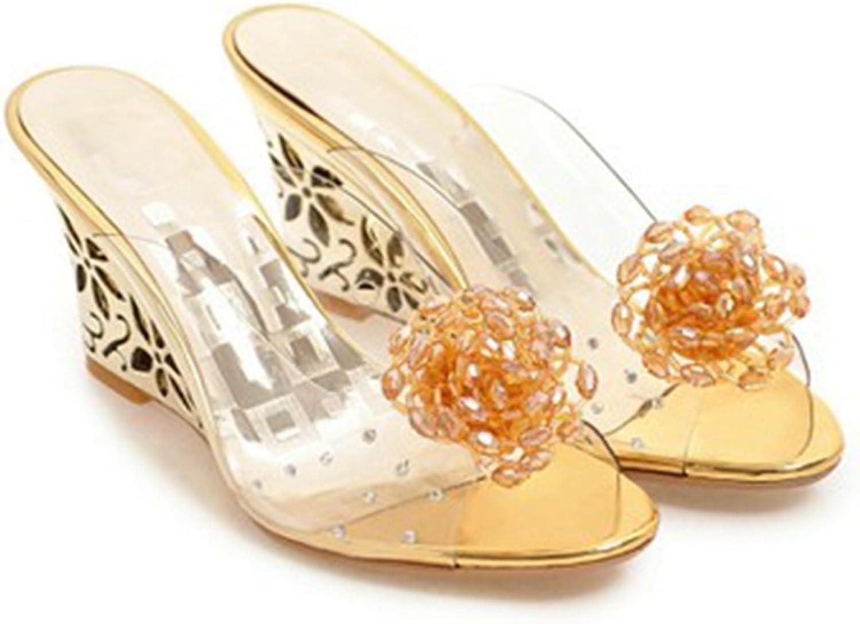 GIY Womens Fashion Clear Peep Toe Wedges Sandals with Rhinestone Platform Glitter Dress Slides Sandals