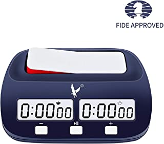 LEAP Chess Clock Fide Approved Digital Chess Timer Professional for Board Games Timer no Alarm Function (Official Store) Blue