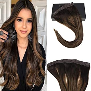 Sunny One Piece Clip in Human Hair Extensions 16 inch Clip in Hair Extensions Brown Balayage Remy Hair Clip in Darkest Brown Mixed Medium Brown With 5 Clips 70g