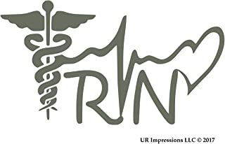 UR Impressions Gry Registered Nurse - RN Caduceus Lifeline Heart Decal Vinyl Sticker Graphics Car Truck SUV Van Wall Window Laptop|Gray|7.5 X 4.1 Inch|URI576
