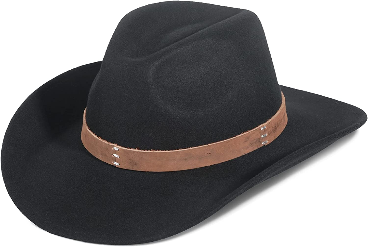 Cowboy Hat, Wool Felt Hats for Men and Women Classic Pinch Front Wide Brim Fedora Western Outback Outdoor Hat with Belt