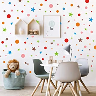 TOARTi Polka Dots Wall Decal with Stars Decal, Primary Color Circles Dots Stars Decals for Nursery Classroom Decoration, Colorful Geometric Decal (192pcs Multicolor Decals)