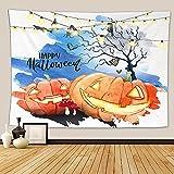 Morbuy Halloween Tapiz Pared de Creativo, 3D Calabaza Fantasma Decoración Tapices Tapicería Cubierta del Sofa Manteles Cortina Picnic Blanket Playa Accesorio Casero (Calabaza Sonriente,260x220cm)