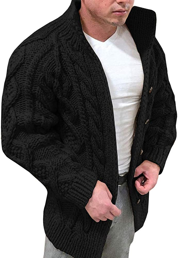 Esobo Men's Cardigan SEAL limited product Sweater Cable Sl Special price Knitted Casual Winter Long
