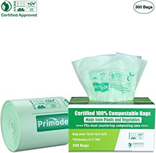 Primode 100% Compostable Bags, 2.6 Gallon (9.84L) Food Scraps Yard Waste Bags, Extra Thick 0.71 Mil. ASTMD6400 Biodegradable Compost Bags Small Kitchen Trash Bags, 300 Count Certified by BPI & TUV EU