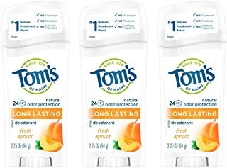 Tom's of Maine Long-Lasting Natural Deodorant, Aluminum Free Deodorant, Deodorant for Women, Fresh Apricot, 2.25 Ounce, 3-...