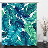 VIMMUCIR Tropical Shower Curtains, Tropical Palm Leaves Hawaii Jungle Bath Curtains, Waterproof Polyester Fabric Bathroom Decor with Hooks Set, Turquoise and Green (60' W x 72' H)