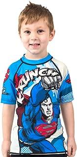 Fusion Superman Krunch Kids Rash Guard Compression Shirt- Short Sleeve