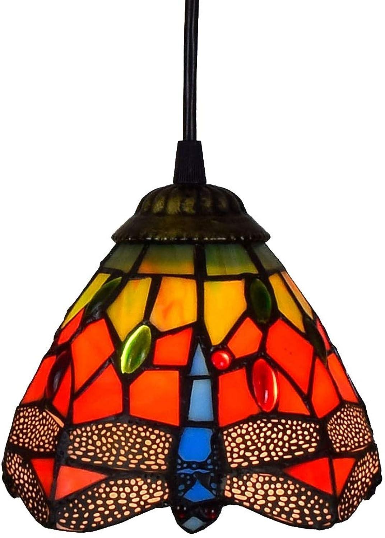 Dionly Mini Retro Kronleuchter, 6 Hngeleuchte, mit Glasmalerei Schatten, Hotel Club Wohnzimmer Sofa Ecke Dekoration Lampe