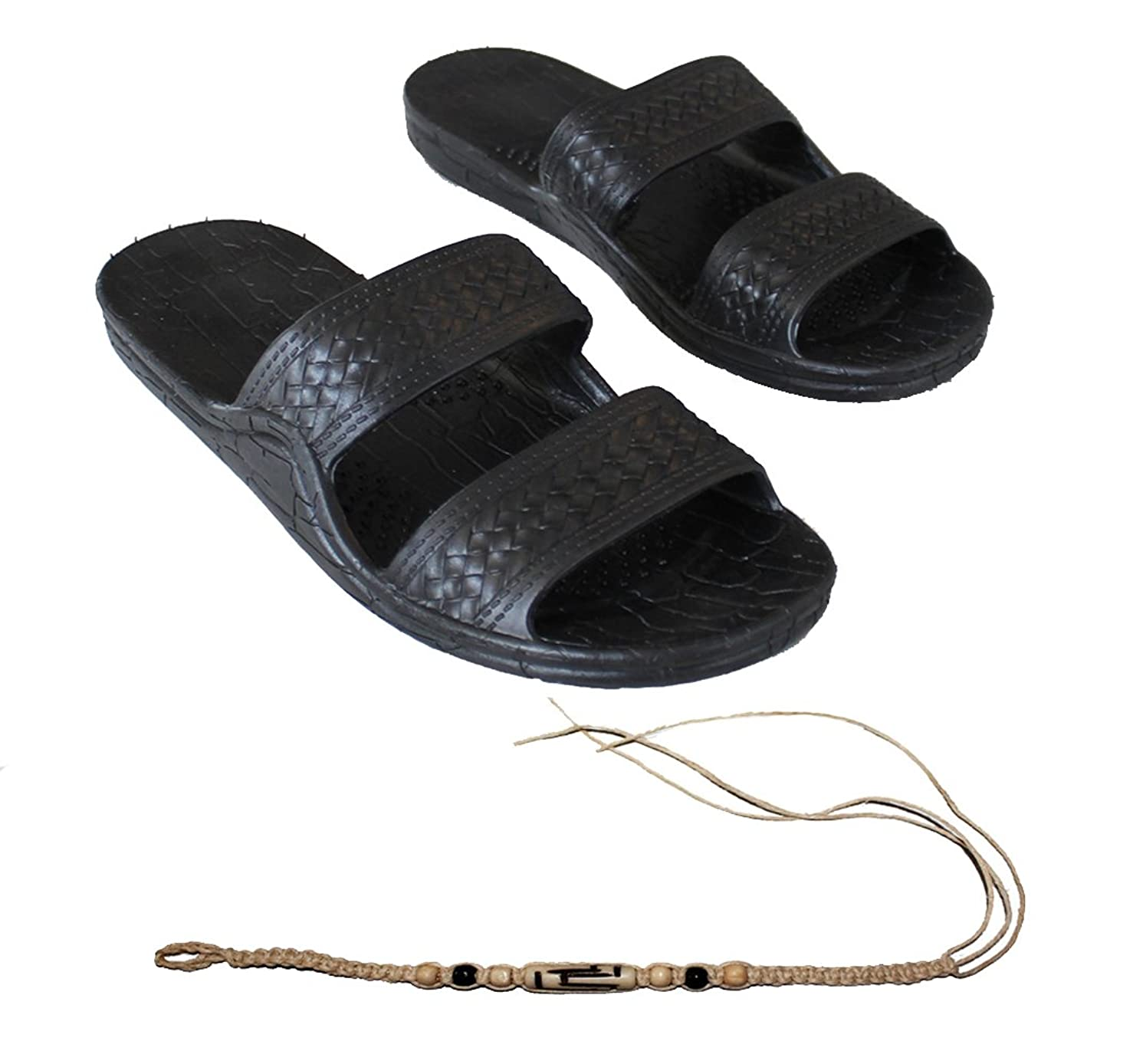 Rubber Double Strap Jesus Style Sandals Imperial Brand - with 1 Braided Natural Hemp Anklet Bracelet Bundle - 2 Items