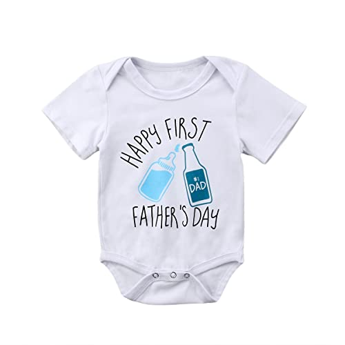 5ea8fb97a Unisex Baby Boys Girls Happy First Fathers Day Bodysuit Cotton Romper
