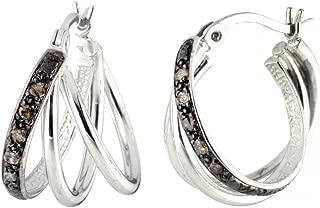Sterling Silver Champagne Diamond Hoop Earrings (1/10 cttw)