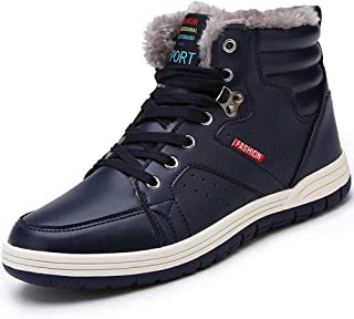 Oumanke Men Winter Snow Boots Waterproof Outdoor Fashion Sneakers Leather Ankle-high Shoes (Black,Blue)