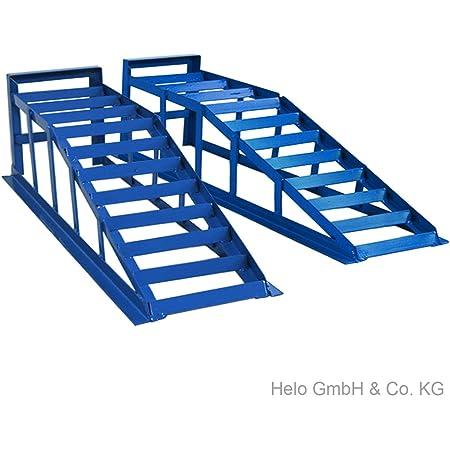 Helo 2 Stück Kfz Auffahrrampe Blau 2000 Kg Belastung Pro Paar Max 265 Mm Reifenbreite Pkw Rampe Auffahrbock Mit 21 Grad Auffahrwinkel Und 240 Mm Auffahrhöhe Auto