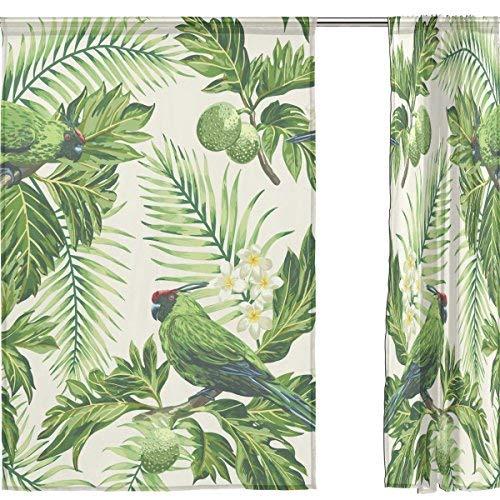 Sheer Voile cortina de ventana de hoja tropical pájaro hojas patrón
