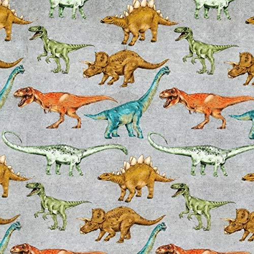 Fabulous Fabrics Jersey grau, Tier, 150cm breit – zum Nähen von Oberkleidung, Hosen und T-Shirts - Meterware erhältlich ab 0,5 m