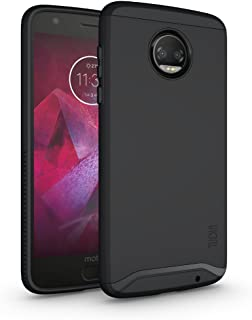 Moto Z2 Force Case, TUDIA Slim-Fit Heavy Duty [Merge] Extreme Protection/Rugged but Slim Dual Layer Case for Motorola Moto Z Force (2nd Generation), Moto Z2 Force Droid Edition (Matte Black)