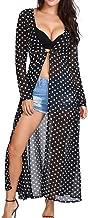 FIRERO Women's Casual Long Sleeve Lovely Lady Polka Dot Duster Cardigan Blouse
