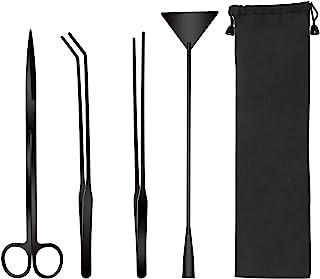 GEHARTY Aquarium Aquascape Tools Kits, 4 in 1 Stainless Steel Aquascaping Plant Tools, Scissors Tweezers Spatula Tools, Aq...