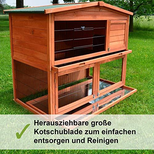 Zooprimus Kaninchenstall 21 Hasenkäfig – HASENHAUS-XL – Stall für Außenbereich (GRÖßE: (XL)   für Kleintiere: Hasen, Kaninchen, Meerschweinchen usw.) - 4