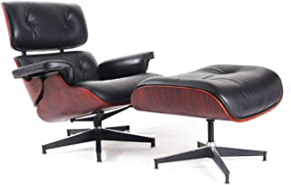 Mid Century Eames Lounge Chair with Ottoman, Palisander Walnut Wood, 100% Grain Italian Leather Living Room Recliner w/Heavy Duty Base Support (Black Rosewood)