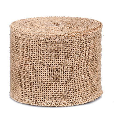 Ruban de Jute Naturel Rouleau Toile de Jute pour l'artisanat, Décoration de Mariage, Emballage Cadeau - 8cm x 10M