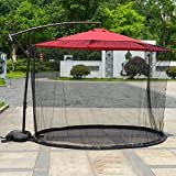 chora Outdoor Patio Netting Canopy Mesh Polyester Mesh Screen Umbrella Table Screen with Zipper Opening Umbrella Mosquito Net Tents