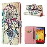 NALIA Coque Flip-Case Compatible avec Samsung Galaxy Note 3 Neo, Fine Housse Protection Avant & Arrière Cover Etui en Cuir Vegan Synthétique, Anti-Choc Bumper Mince Résistant - Dreamcatcher Edition