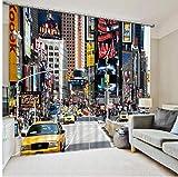HomeAZWQ Cortina Moderna Cortinas Cuadradas 3D del New York Times Que Imprimen Las Cortinas Opacas para La Sala De Estar Sala De Estar-H245 X W220cm