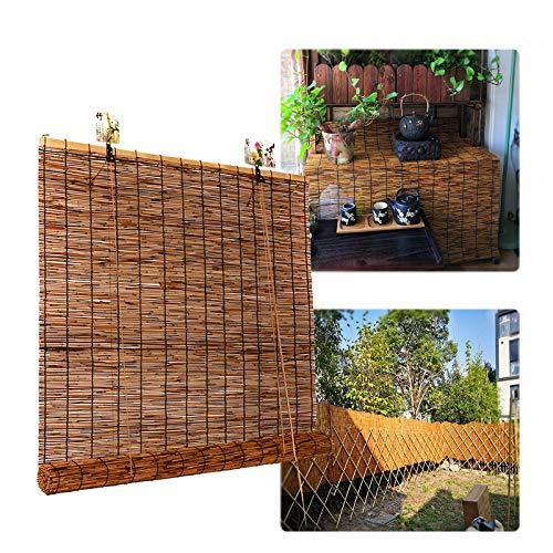 LMDX Bambusrollo Outdoor - Rollo Bambus Ohne Bohren, Sonnenschutz, Sichtschutz, Holzrollo Für Fenster, Pavillon, Balkon, Außenbereich Bambu Jalousien, 60cm Bis 150cm Breit