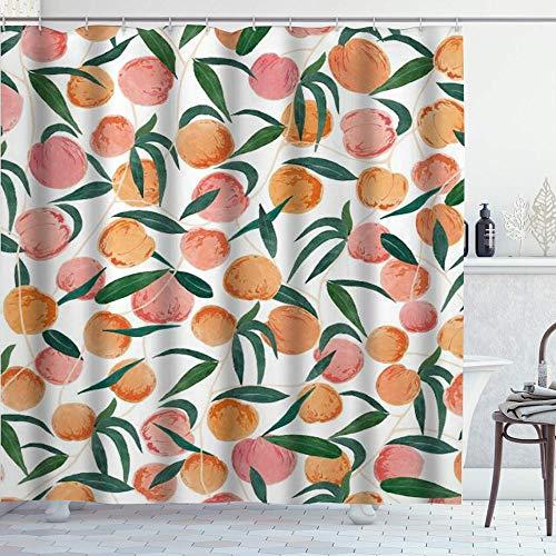 NR Duschvorhang,Pfirsich Allover Früchte Nettes helles buntes Design,Badvorhang Badezimmer Hochwertig mit Haken Set Wasser Resistent 180 x 180 cm