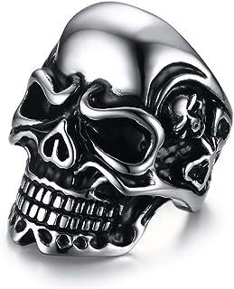 انگشتر مردانه استیل جمتیک اسکلت گوتیک استایل سبک Punk نقره ای سایز 7-12