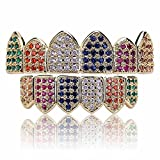 JINAO 18K Gold Plated Macro Pave CZ Iced-Out Grillz with Extra Molding Bars Included (Rainbow Set)