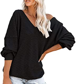 Womens Pullover Off The Shoulder Long-Sleeve V Neck Knit Tops Waffle Sweaters