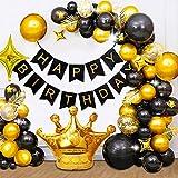 KAMEUN Globos Cumpleaños Decoracione Oro Negro,Decoración de Fiesta con Globos,19 Globos de Látex Negro,11 Globos de Látex dorado,1 Happy Birthday Bandera y Corona