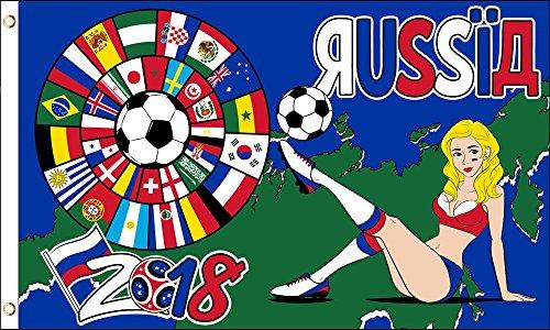 AZ FLAG Flagge FUßBALL-Weltmeisterschaft 2018 Russland Russisches MÄDCHEN 150x90cm - World Cup Football Russia Fahne 90 x 150 cm - flaggen Top Qualität