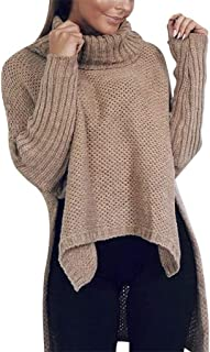 Women Knit Sweaters Winter Warm Long Sleeve Fashion Slim Casual High Collar Oversized Classic Comfy Solid Jumper Tops
